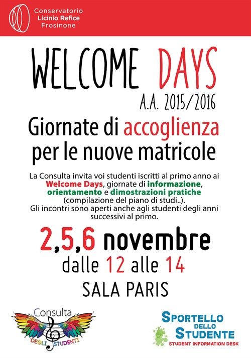 Welcome Days 2015-16